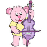 Cartoon bear playing a cello.  Royalty Free Stock Images