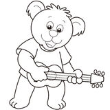 Cartoon Bear Playing a Guitar Royalty Free Stock Photo