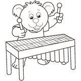 Cartoon Bear Playing a Vibraphone Royalty Free Stock Photography