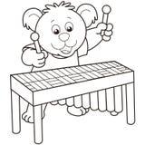 Cartoon Bear Playing a Vibraphone Royalty Free Stock Photography