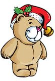 Cartoon Bear with santa hat Stock Photos