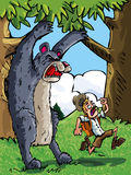Cartoon of bear scaring a camper Stock Photography