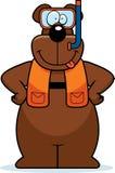 Cartoon Bear Snorkeling Stock Image