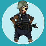 Cartoon bear standing with arms akimbo in body armor with weapons Royalty Free Stock Photos