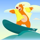 Cartoon Bear Surfer Stock Photos
