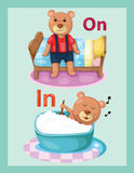 cartoon bear with vocabulary on and in