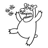 Cartoon bear was afraid of angry bees. Vector illustration. Royalty Free Stock Photos