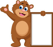 Cartoon bear waving hand with blank sign Royalty Free Stock Photo