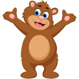 Cartoon bear waving hand with stand Royalty Free Stock Photography