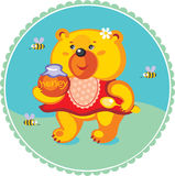 Cartoon bear which loves honey Royalty Free Stock Photography