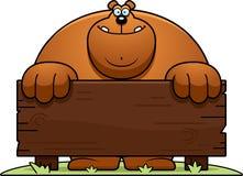 Cartoon Bear Wood Sign Royalty Free Stock Images