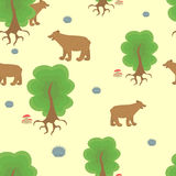 Cartoon bear in the woods. Stock Photos