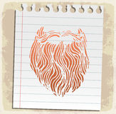 Cartoon beard  on paper note, vector illustration Royalty Free Stock Photo