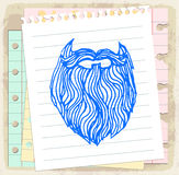 Cartoon beard  on paper note, vector illustration Royalty Free Stock Photos