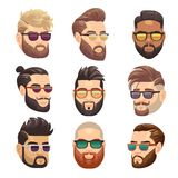 Cartoon bearded hipster man and male hairstyle vector set. Hipster male with beard and fashion hairstyle illustration stock illustration