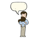 cartoon bearded hipster man with speech bubble Stock Photos