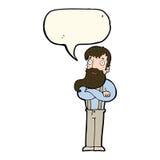 cartoon bearded hipster man with speech bubble Stock Photos