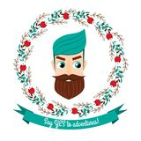 Cartoon bearded man in flower wreath. Handsome hipster male face. Emblem with text say yes to adventures Royalty Free Stock Photo