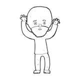 Cartoon bearded man panicking Stock Photo