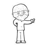 Cartoon bearded man pointing Royalty Free Stock Photos
