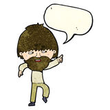 cartoon bearded man pointing and laughing with speech bubble Stock Photos