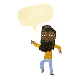 cartoon bearded man pointing the way with speech bubble Royalty Free Stock Photography