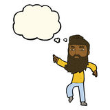 cartoon bearded man pointing the way with thought bubble Royalty Free Stock Image