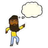 cartoon bearded man pointing the way with thought bubble Stock Images