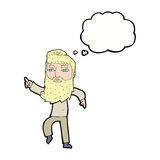 cartoon bearded man pointing the way with thought bubble Royalty Free Stock Photography