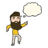 cartoon bearded man pointing the way with thought bubble Royalty Free Stock Images