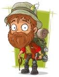 Cartoon bearded man with rope and ice axe Royalty Free Stock Photos