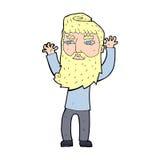 Cartoon bearded man waving arms Stock Photography
