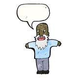Cartoon bearded old man with speech bubble Royalty Free Stock Images