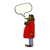 Cartoon bearded old man with speech bubble Royalty Free Stock Image