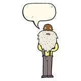 Cartoon bearded old man with speech bubble Stock Images