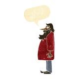 Cartoon bearded old man with speech bubble Stock Image