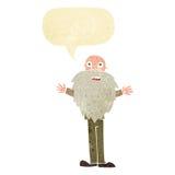 Cartoon bearded old man with speech bubble Stock Photos