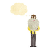 Cartoon bearded old man with thought bubble Stock Photo