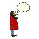 Cartoon bearded old man with thought bubble Royalty Free Stock Image