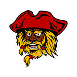 Cartoon bearded pirate captain in red hat Stock Photo