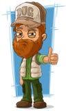 Cartoon bearded trucker in cap Stock Images