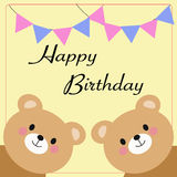 Cartoon bears with birthday greetings Royalty Free Stock Photos