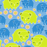 Cartoon bears and flowers. Colorful Seamless Pattern. Cartoon animals. Colorful Seamless Pattern Stock Images