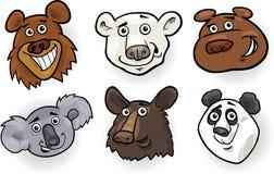 Cartoon bears heads set. Cartoon Illustration of Different Funny Bears Heads Set: Grizzly, Polar Bear, Panda, Koala and American Black Bear Royalty Free Stock Image