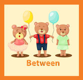 Cartoon bears with vocabulary between vector illustration