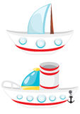 Cartoon beatiful ships Royalty Free Stock Images