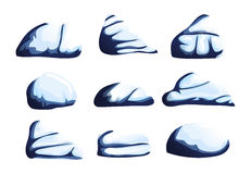 Cartoon beautiful blue stones with cracks under snow on a white background to create any of the songs funny cartoon for filling yo Royalty Free Stock Photos