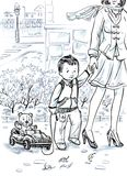 cartoon beautiful drawing of a small boy and his mother walking down the street in the spring town Royalty Free Stock Image