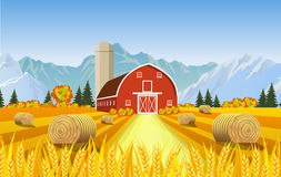 Cartoon beautiful fall farm scene Royalty Free Stock Images