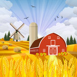 Cartoon beautiful fall farm scene Royalty Free Stock Photos